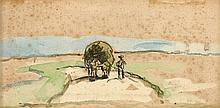 Camille FLERS (1802- 1862) Sur le chemin - Dessin aquarellé signé au dos au crayon -petites rousseurs   6 x 13 cm