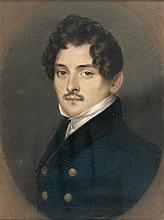 Ecole française du XIXème siècle Portrait d'homme à la moustache - Pastel non signé - 18,5 x 14 cm - Cadre de style Directoire à motif de feuilles de vigne et grappes de raisins