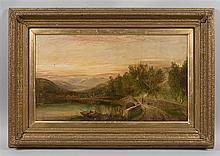 Georges COLE (1810-1883) - Paysage animé - Huile sur toile signée en bas à gauche - 48 x 76 cm