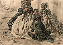 Etienne DINET (1861- 1929) - Jeux de fillettes - Lithographie en couleurs - 24 x 34 cm - Petites déchirures