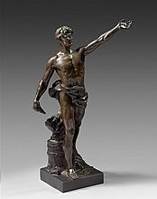 Eugène MARIOTON (1854-1933), Le devoir civique, bronze signé sur la terrasse, copyright 1904 by Lapointe, hauteur :40 cm (socle compris)