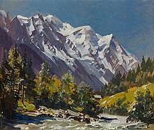 Marcel WIBAULT (1905-1998) -Le Mont Blanc vue d'Argentières - Huile sur panneau signée en bas à droite datée 6/07/1970 au dos- 46 x 55 cm