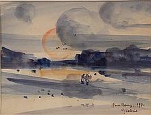 Gaston SEBIRE (1920-2001) Scène de plage - Aquarelle signée datée 1971 et dédicacée en bas à droite - 13,5 x 18 cm (à vue)
