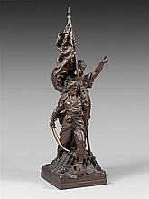 Gustave DORE (1832-1883) -La défense nationale- Bronze signé - H.59,5 cm
