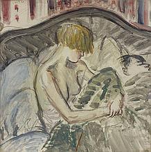 Marcel VERTES (1895-1961) Intimité - gouache signée en haut à gauche - 34,5 x 34,5 cm
