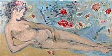 Marcel VERTES (1895-1961) Femme allongée - Huile sur carton signée en haut à droite - 48 x 94 cm