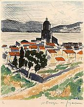 André DUNOYER de SEGONZAC (1884-1974) Saint Tropez (1964) -  Eau forte en couleurs justifiée 23 / 100 en bas à gauche - Signé dans la marge en bas à droite - 38 x 28 cm (feuille ) - 29,2 x 24 cm