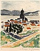 André DUNOYER de SEGONZAC (1884-1974) Saint Tropez (1964) -  Eau forte en couleurs justifiée 23 / 100 en bas à gauche - Signé dans la marge en bas à droite - 38 x 28 cm (feuille ) - 29,2 x 24 cm, Andre Dunoyer de Segonzac, €100