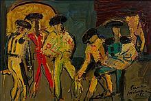 Pierre AMBROGIANI  (1907-1985)  Toréadors - Huile sur isorel signée et datée 1962 en bas à droite - 73 x 50 cm