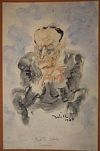 WILL (1927-2000) Portrait d'André Malraux - Dessin et aquarelle signé en bas à droite et daté 1964 - 34 x 22 cm
