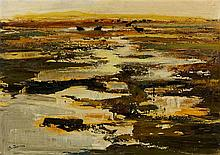 Michel JOUENNE (Né en 1933) Taureaux en camargue, huile sur toile signée en bas à gauche - 65 x 92 cm