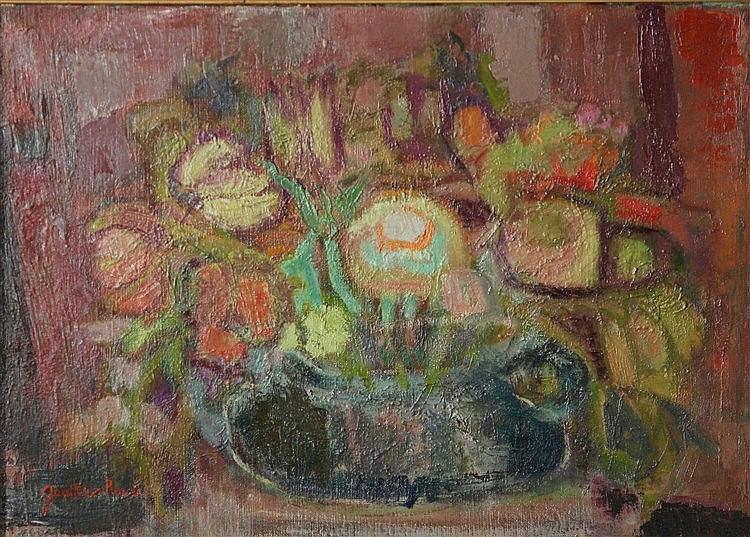 Gauthier ROUX  (XXème siècle) - Nature morte aux fruits - Huile sur toile s