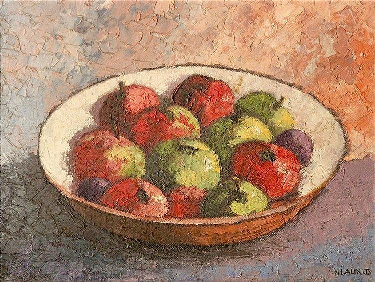 Daniel NIAUX ( XXème) - Les pommes - Huile sur toile signée en bas à droite
