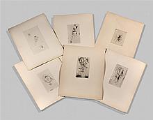Otto WOLS (1913-1951) Ensemble de six pointes sèches
