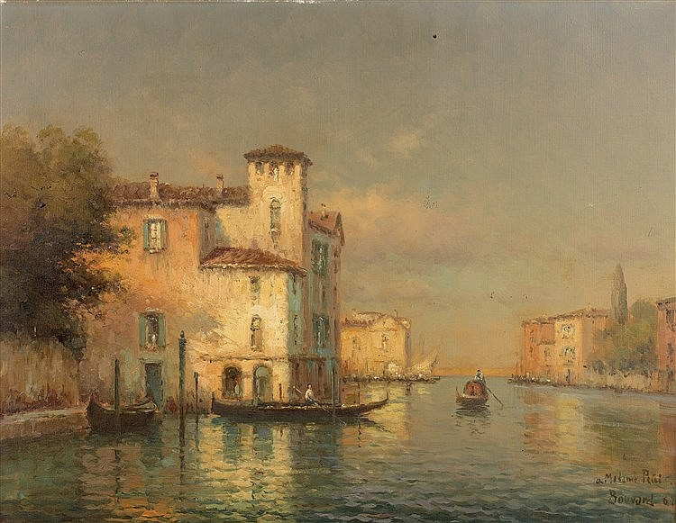 Georges Noel BOUVARD (1912-1972) - Venise - Huile sur toile signée en  bas à droite et datée (19)64- 50 x 65 cm