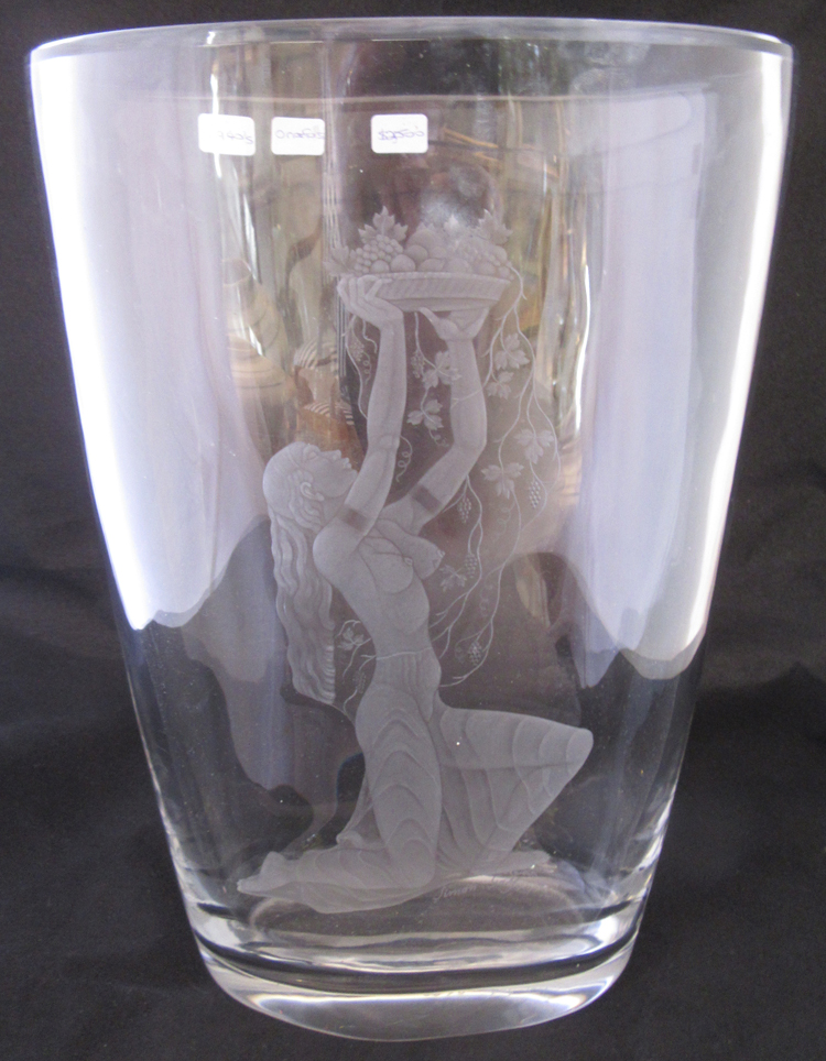 Signeddated 1947 Orrefors Swedish Etched Simon Gate Vase 1