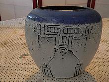 Western Art Vase - Signed
