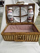 Vintage Sears 21 Piece Patriotic Picnic Basket