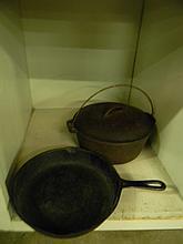 Antique Cast Iron Pot and Skillet