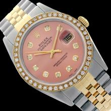 Rolex Ladies Two Tone 14K Gold/SS, Diamond Dial & Diamond Bezel, Sapphire Crystal - REF-434F3M
