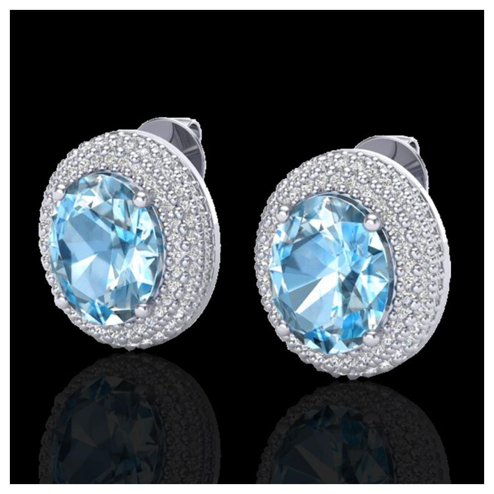 10 ctw Sky Blue Topaz & Diamond Earrings 18K White Gold - REF-161F8N - SKU:20218