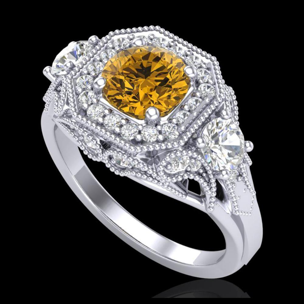 2.11 ctw Intense Fancy Yellow Diamond Art Deco Ring 18K White Gold - REF-283A6V - SKU:38302