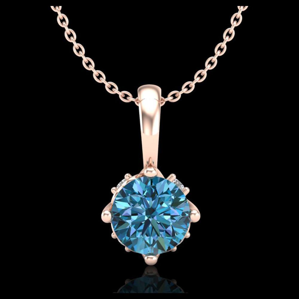 0.62 ctw Fancy Intense Blue Diamond Art Deco Necklace 18K Rose Gold - REF-72N7A - SKU:37797