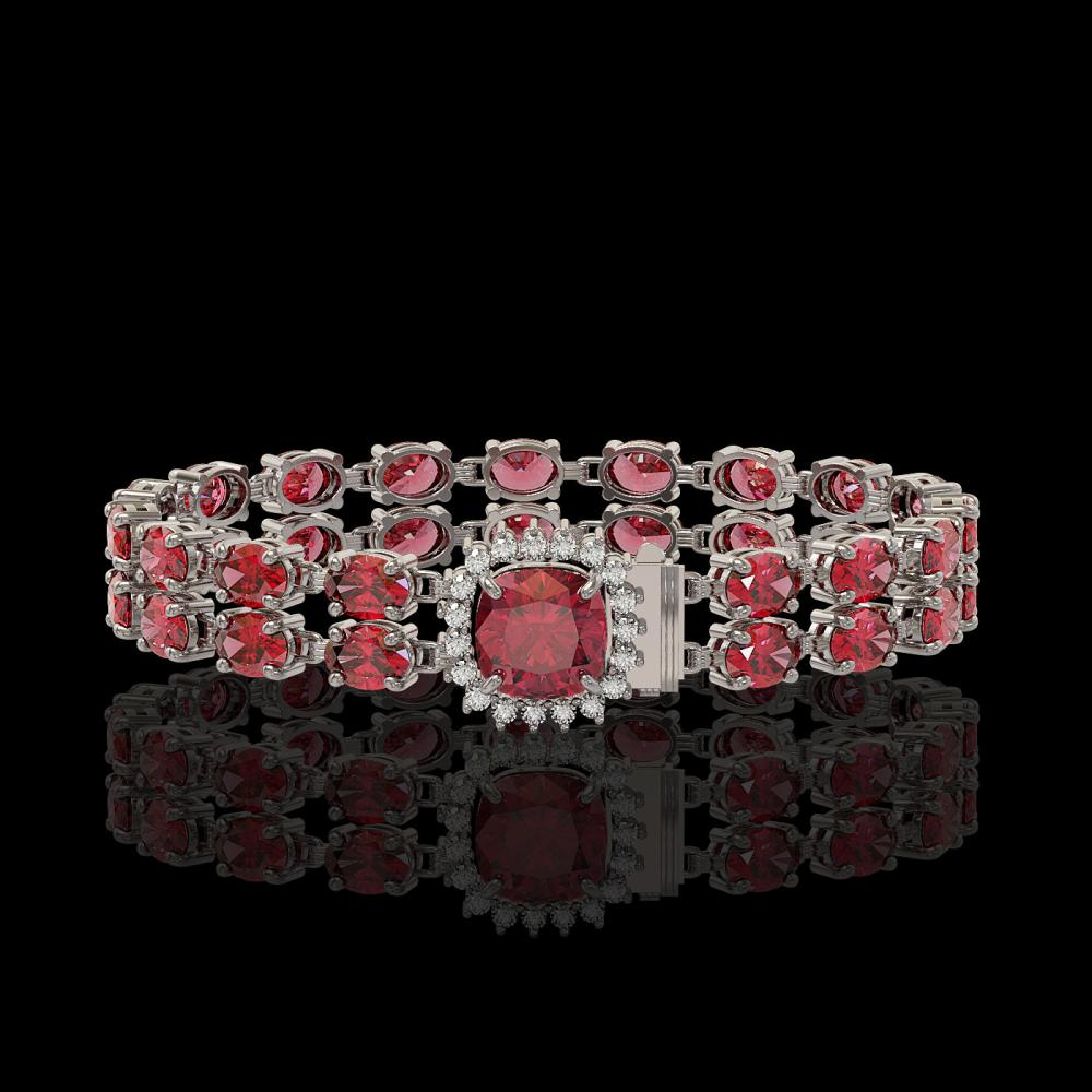 17.35 ctw Tourmaline & Diamond Bracelet 14K White Gold - REF-237K8W - SKU:45611