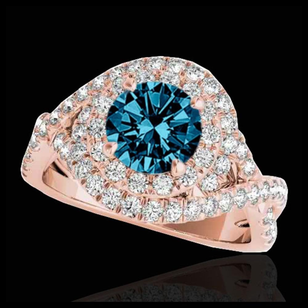 2 ctw SI Blue Diamond Solitaire Halo Ring 10K Rose Gold - REF-211A4V - SKU:33879