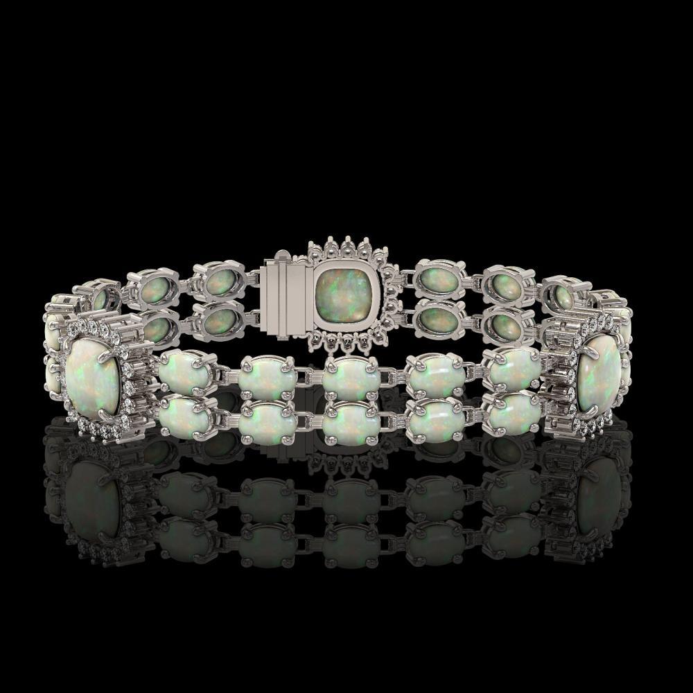 16.55 ctw Opal & Diamond Bracelet 14K White Gold - REF-286K2W - SKU:44753