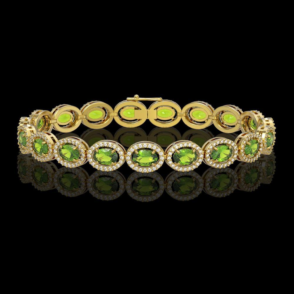 13.87 ctw Peridot & Diamond Halo Bracelet 10K Yellow Gold - REF-251Y6X - SKU:40480