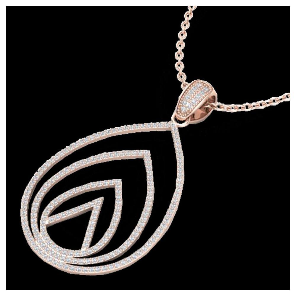 1.25 ctw VS/SI Diamond Necklace 14K Rose Gold - REF-109W3H - SKU:22480