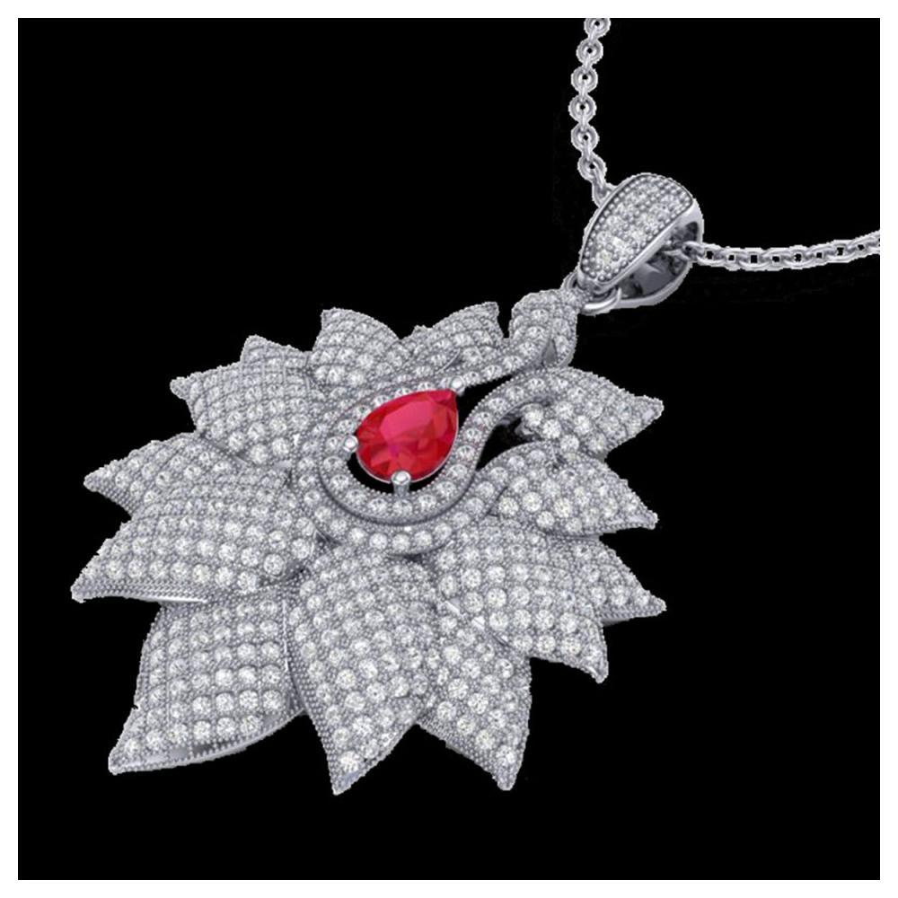 3 ctw Ruby & VS/SI Diamond Necklace 18K White Gold - REF-290H9M - SKU:22563