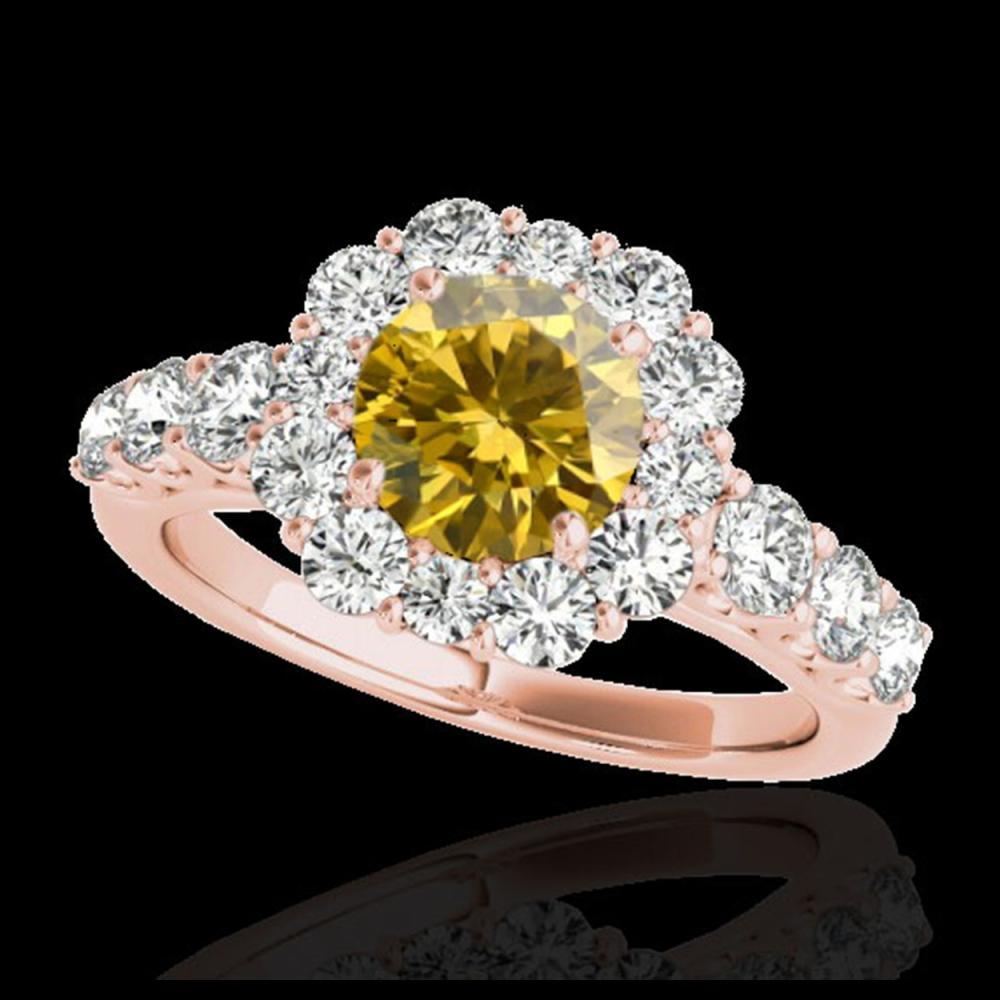 2.9 ctw SI/I Fancy Intense Yellow Diamond Ring 10K Rose Gold - REF-368H2M - SKU:33399