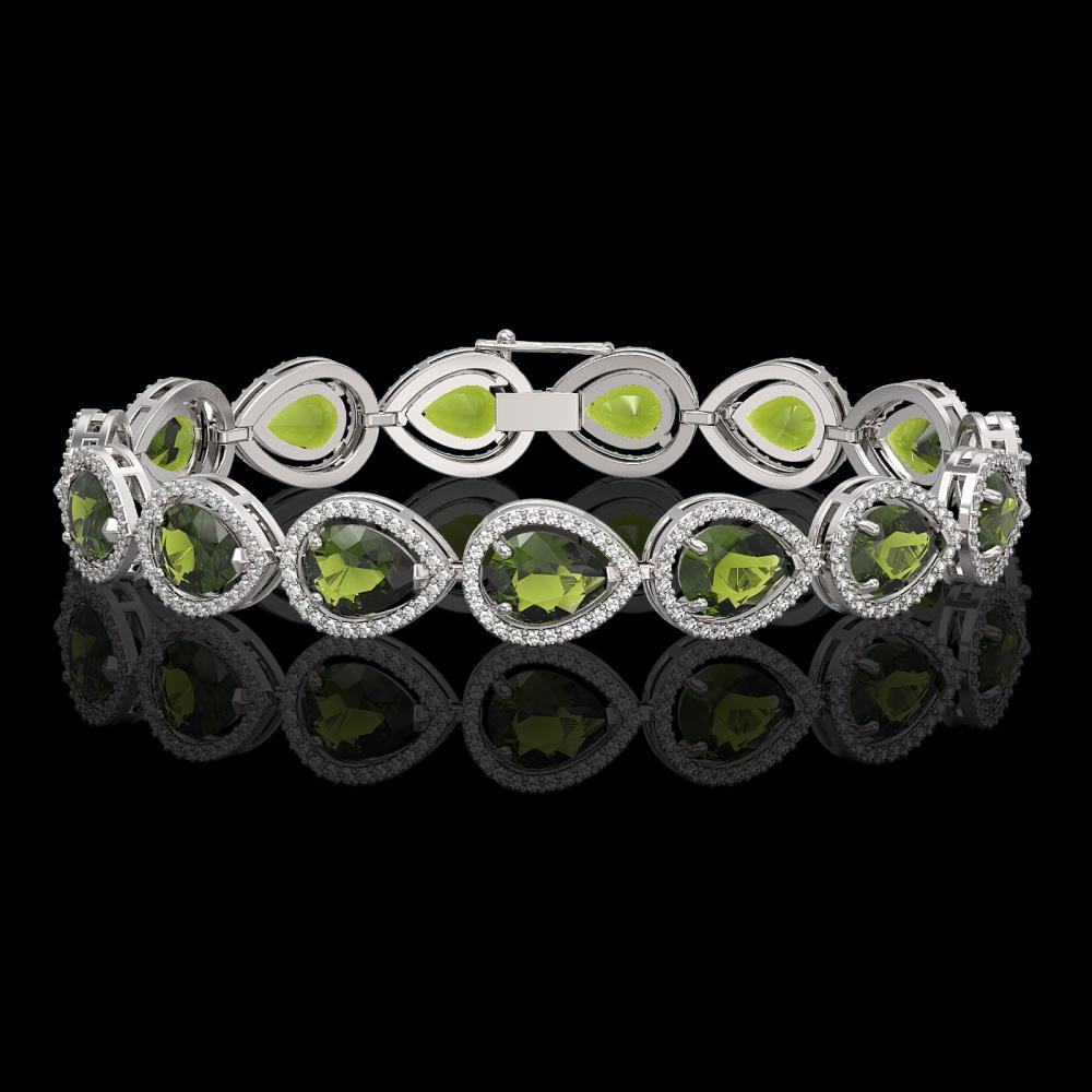 19.7 ctw Tourmaline & Diamond Halo Bracelet 10K White Gold - REF-361K3W - SKU:41255