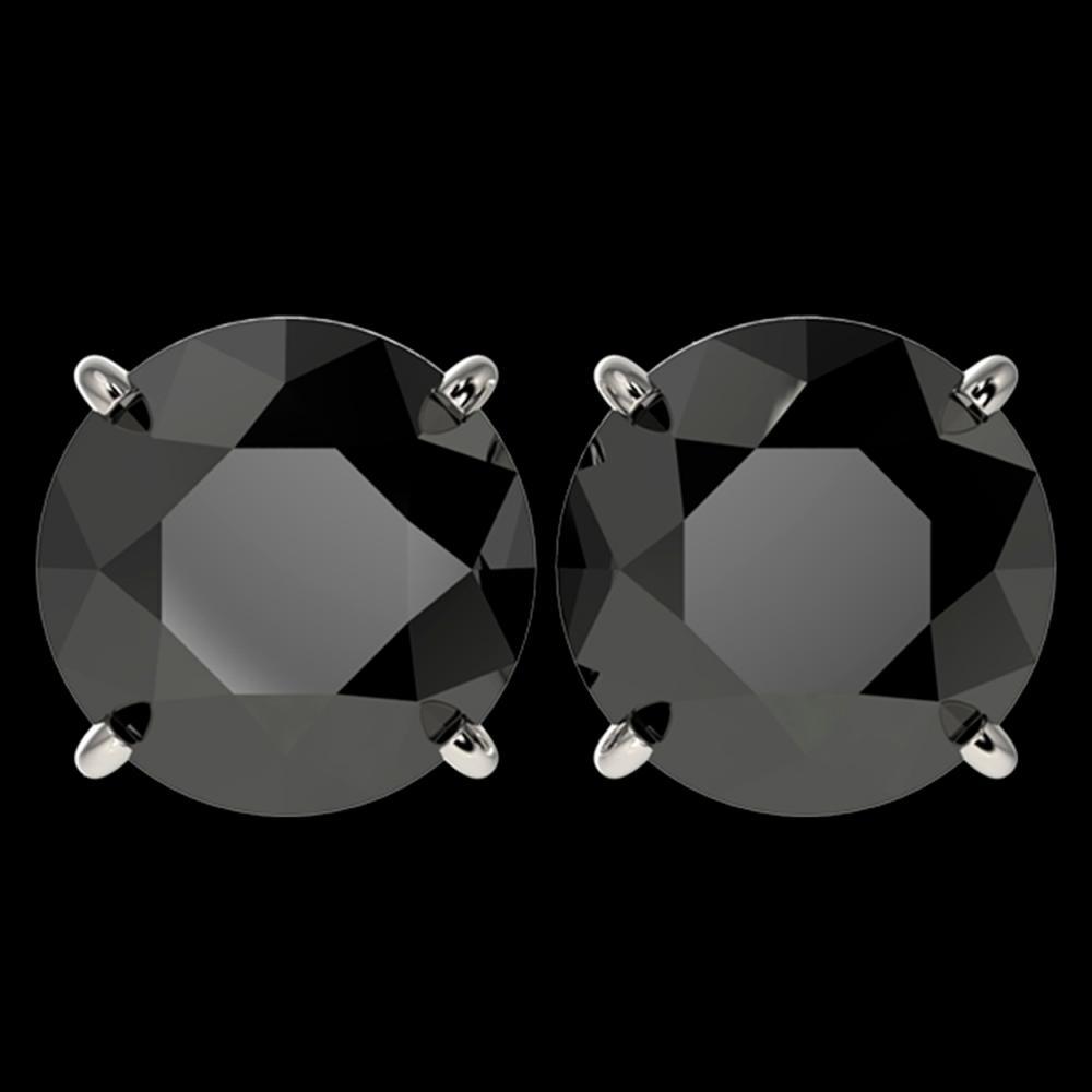 5.15 ctw Fancy Black Diamond Solitaire Stud Earrings 10K White Gold - REF-120R2K - SKU:36714