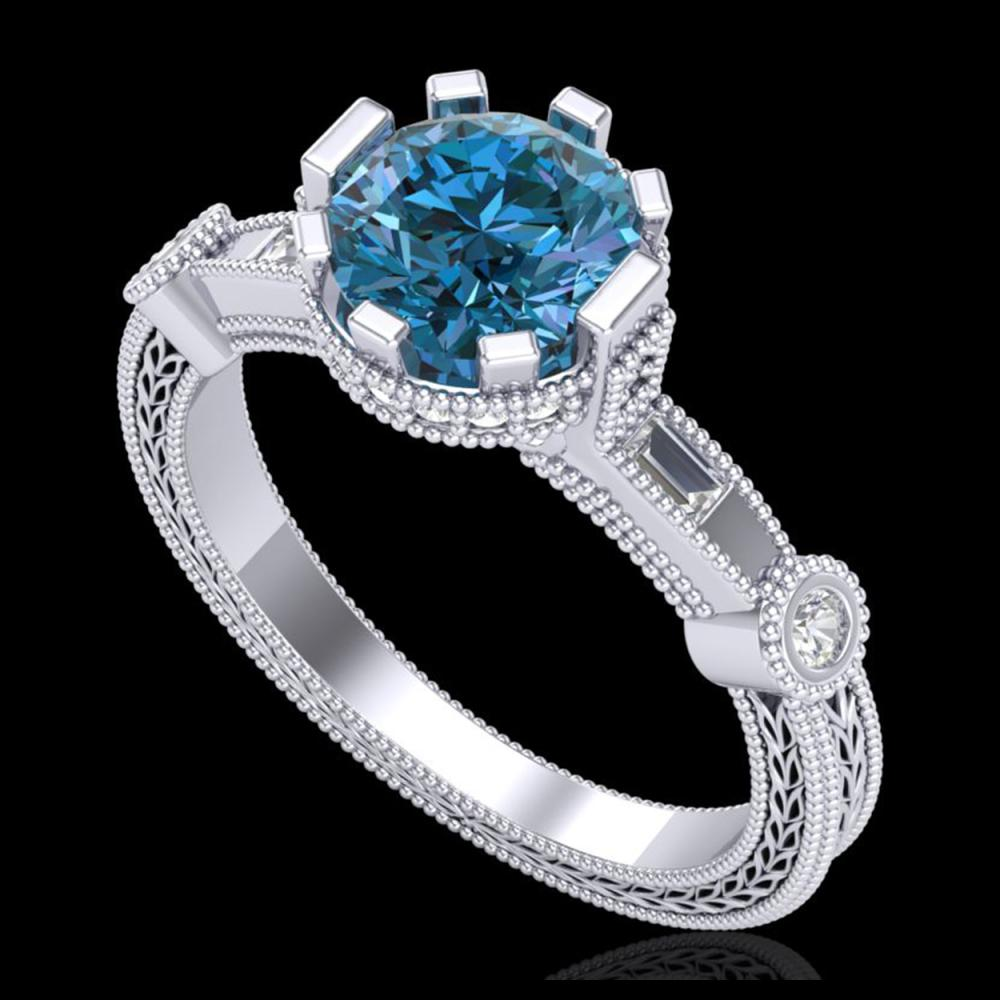 1.71 ctw Fancy Intense Blue Diamond Art Deco Ring 18K White Gold - REF-263V6Y - SKU:37859