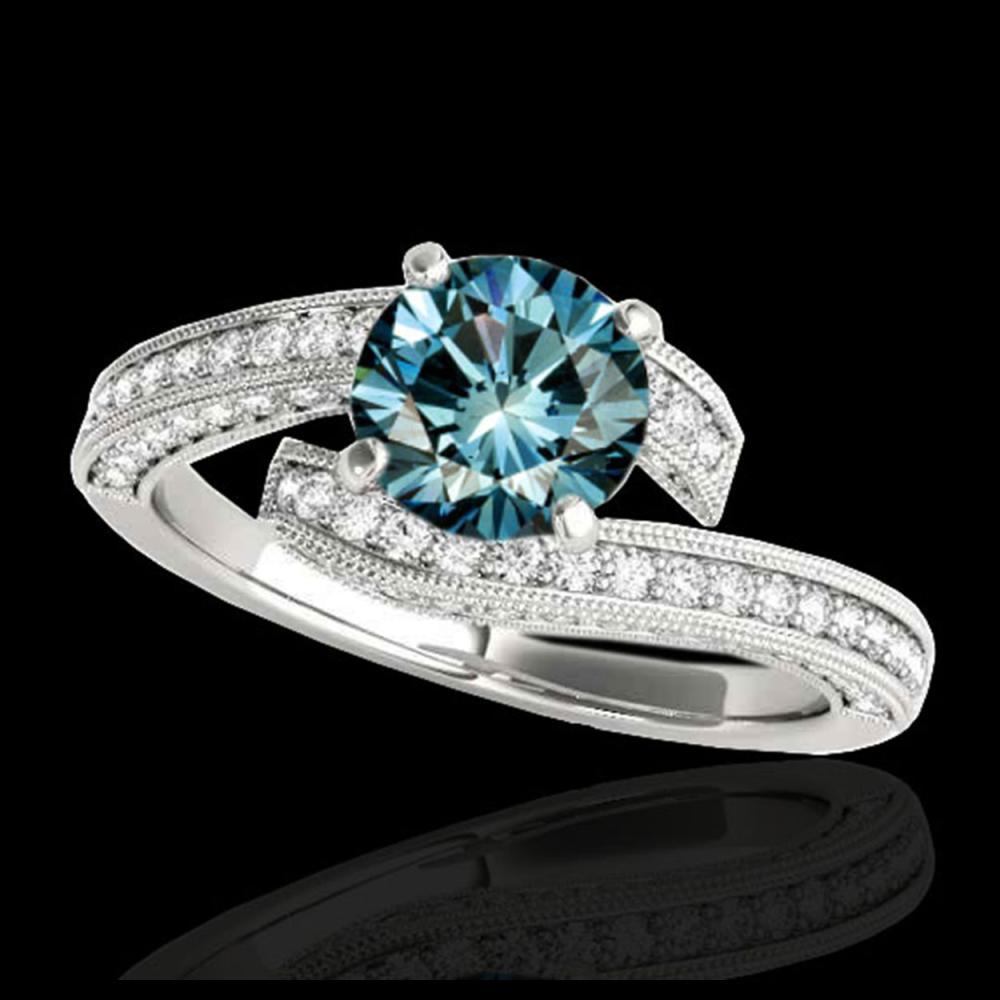 1.75 ctw SI Fancy Blue Diamond Bypass Ring 10K White Gold - REF-135W2H - SKU:35131