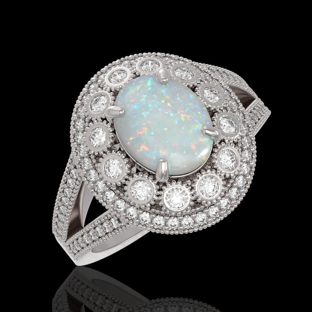 3.93 ctw Opal & Diamond Ring 14K White Gold - REF-149H3M - SKU:43592