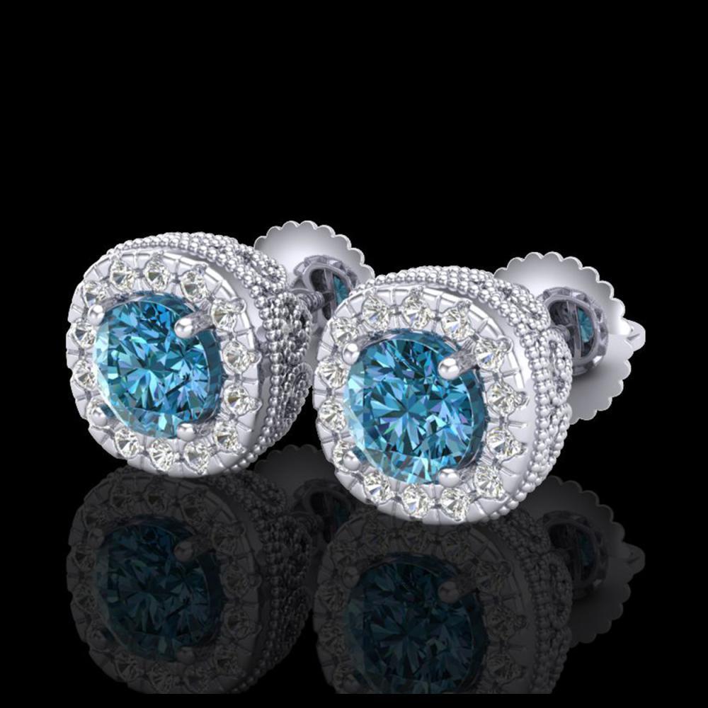 1.69 ctw Fancy Intense Blue Diamond Art Deco Earrings 18K White Gold - REF-176V4Y - SKU:37992