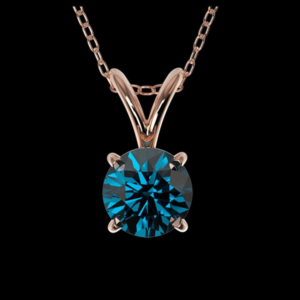 0.51 ctw Intense Blue Diamond Necklace 10K Rose Gold - REF-42Y2X - SKU:36727