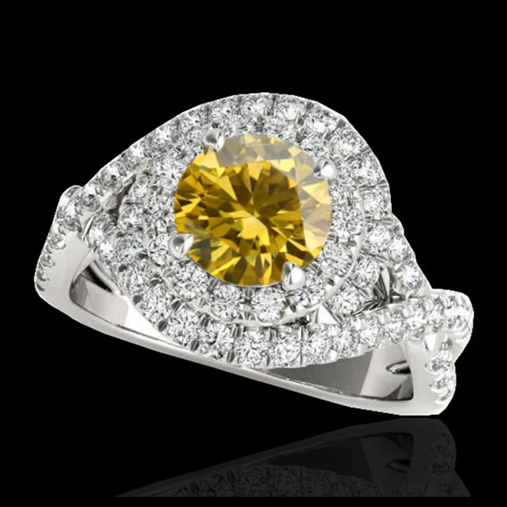 2 ctw SI/I Fancy Intense Yellow Diamond Halo Ring 10K White Gold - REF-259R3K - SKU:33880