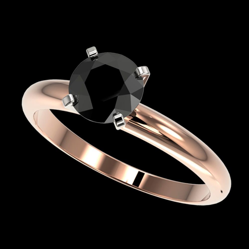 1.25 ctw Fancy Black Diamond Solitaire Ring 10K Rose Gold - REF-32V5Y - SKU:32907