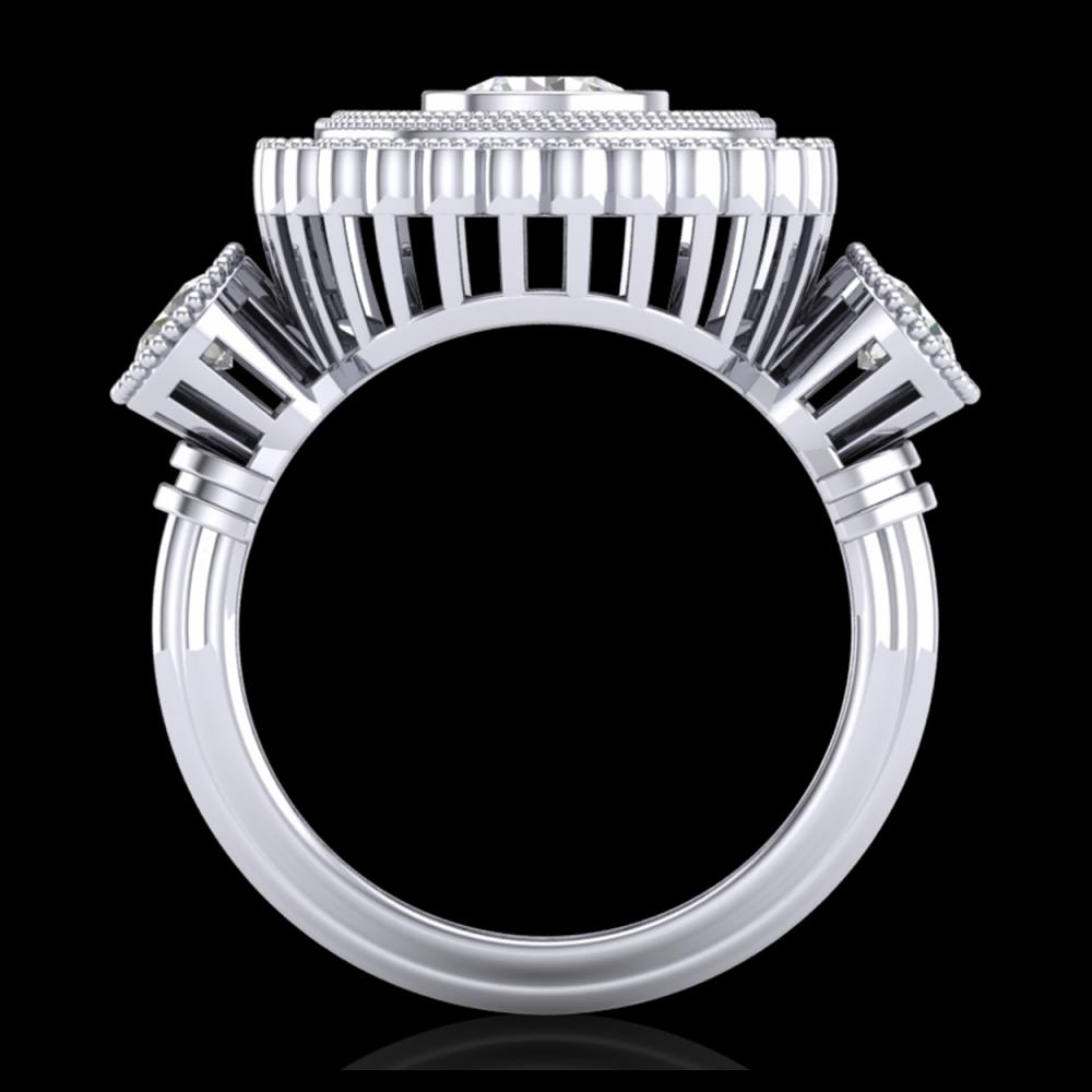 2.62 ctw VS/SI Diamond Solitaire Art Deco 3 Stone Ring 18K White Gold - REF-343N5A - SKU:37088