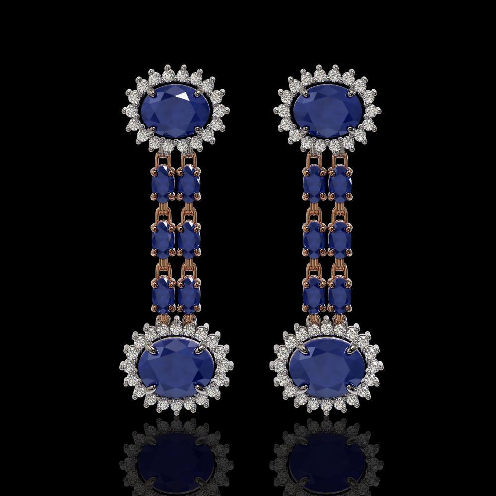 10.23 ctw Sapphire & Diamond Earrings 14K Rose Gold - REF-163N5A - SKU:44289