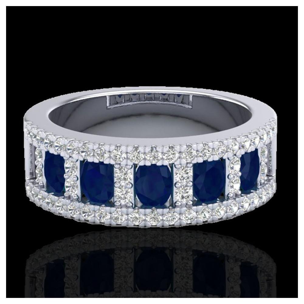 2.34 ctw Sapphire & VS/SI Diamond Ring 10K White Gold - REF-62V2Y - SKU:20828