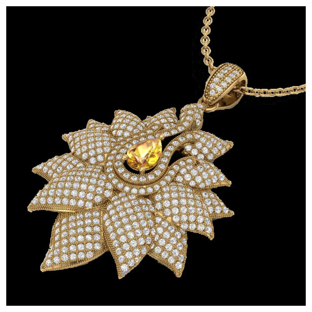3 ctw Yellow Sapphire & Diamond Necklace 18K Yellow Gold - REF-290X9R - SKU:22572