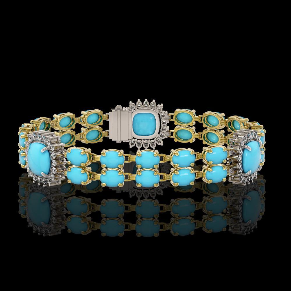 15.27 ctw Turquoise & Diamond Bracelet 14K Yellow Gold - REF-232W2H - SKU:44791