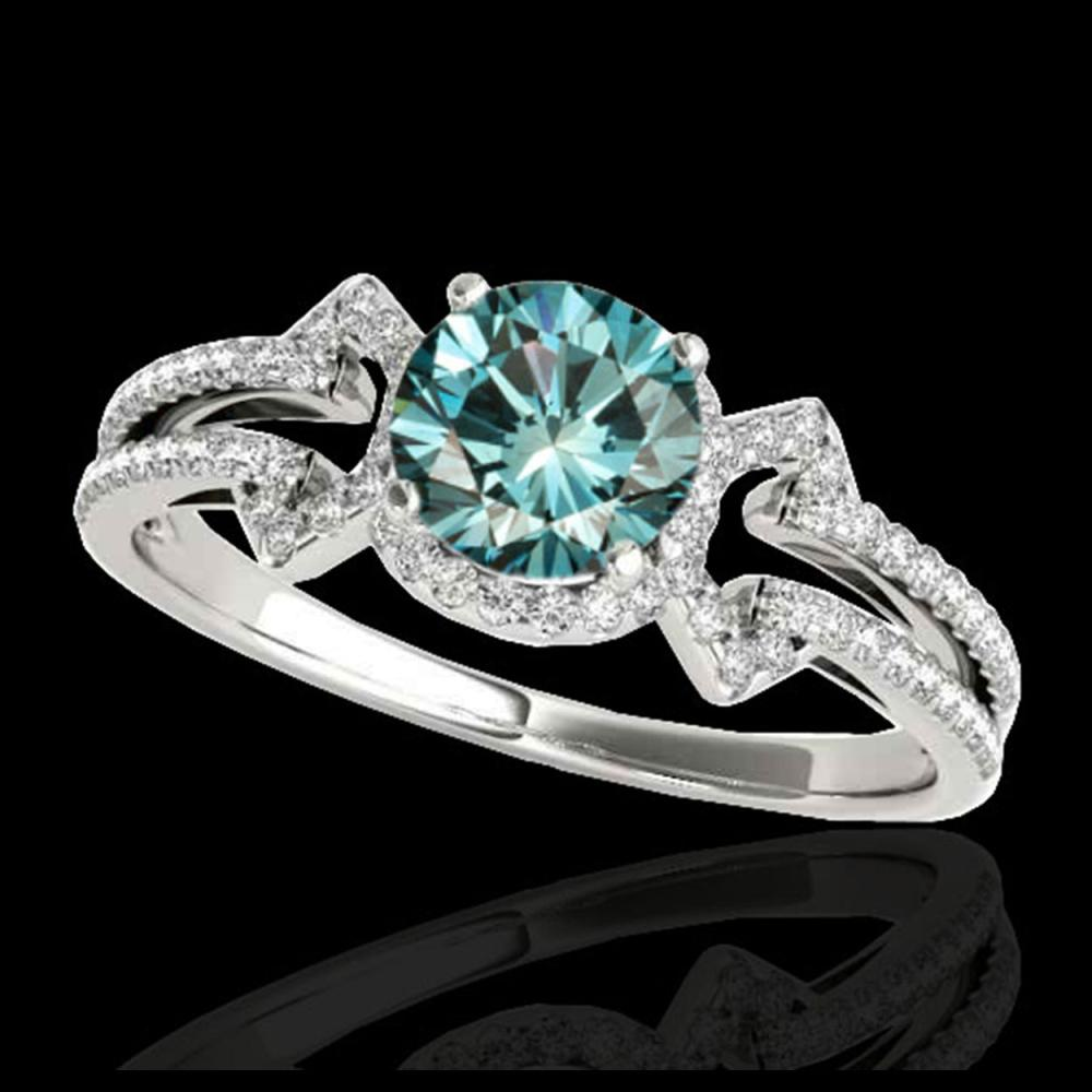 1.36 ctw SI Fancy Blue Diamond Solitaire Ring 10K White Gold - REF-126N8A - SKU:35327