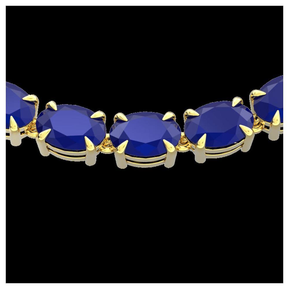68 ctw Sapphire Eternity Necklace 14K Yellow Gold - REF-234X9R - SKU:23404